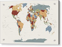 World Map Muted Colors Acrylic Print