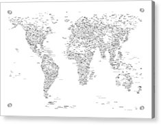 World Map Of Cities Typography Map Acrylic Print by Michael Tompsett
