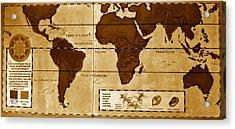 World Map Of Coffee Acrylic Print by David Lee Thompson