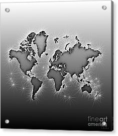 World Map Opala In Black And White Acrylic Print