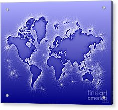 World Map Opala In Blue And White Acrylic Print