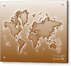World Map Opala In Brown And White Acrylic Print by Eleven Corners