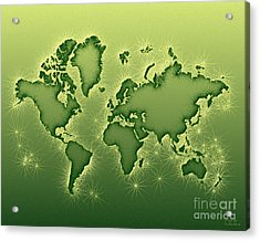 World Map Opala In Green And Yellow Acrylic Print