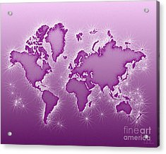 World Map Opala In Purple And White Acrylic Print