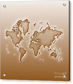 World Map Opala Square In Brown And White Acrylic Print