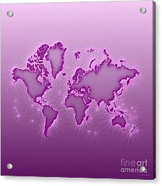 World Map Opala Square In Purple And Pink Acrylic Print