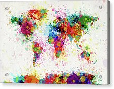 World Map Paint Drop Acrylic Print by Michael Tompsett