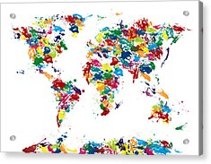 World Map Paint Drops Acrylic Print by Michael Tompsett