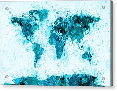 World Map Paint Splashes Blue Acrylic Print by Michael Tompsett