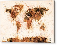 World Map Paint Splashes Bronze Acrylic Print by Michael Tompsett