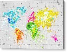 World Map Painting On Brick Wall Acrylic Print by Setsiri Silapasuwanchai