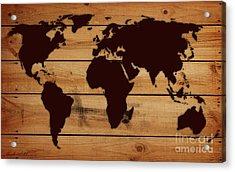 World Map Wood  Acrylic Print