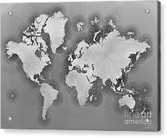 World Map Zona In Black And White Acrylic Print