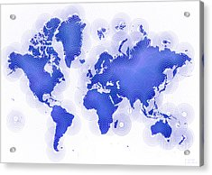 World Map Zona In Blue And White Acrylic Print