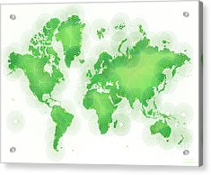 World Map Zona In Green And White Acrylic Print