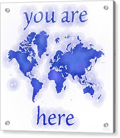 World Map Zona You Are Here In Blue And White Acrylic Print