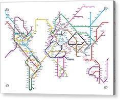 World Metro Tube Map Acrylic Print