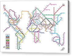 World Metro Tube Subway Map Acrylic Print by Michael Tompsett