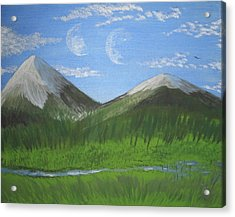 World Of Twin Moons Acrylic Print by Law Stinson