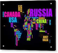 World Text Map 16x20 Acrylic Print by Michael Tompsett