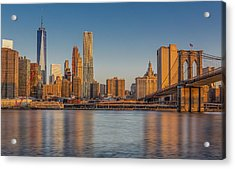 World Trade Center And The Brooklyn Bridge Acrylic Print