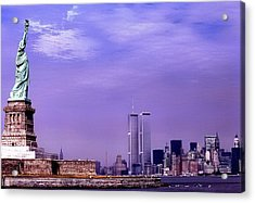 World Trade Center Twin Towers And The Statue Of Liberty  Acrylic Print