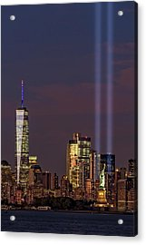 World Trade Center Wtc Tribute In Light Memorial II Acrylic Print by Susan Candelario