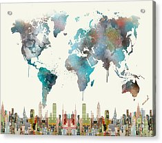 Acrylic Print featuring the painting World Travel Map by Bri B