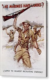 World War II, Marines Recruiting Poster Acrylic Print by Everett