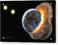 Worlds In Collision Acrylic Print by Lynette Cook