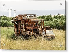 Worn Out Harvester And Car Acrylic Print by Kim Lessel