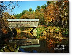 Worrall's Bridge Vermont - New England Fall Landscape Covered Bridge Acrylic Print by Jon Holiday