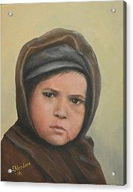 Worried Boy On Ellis Island Acrylic Print