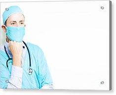 Worried Doctor Deep In Thought Acrylic Print by Jorgo Photography - Wall Art Gallery