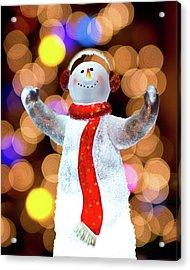 Worshiping Snowman Acrylic Print