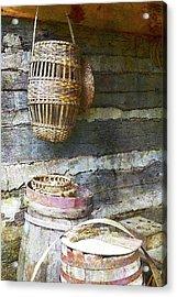 Woven Wood And Stone Acrylic Print