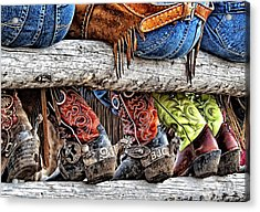 Wrangler Boots Butts And Spurs Acrylic Print