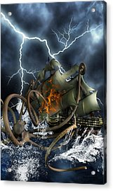 Wrath Of Kraken Acrylic Print by Emma Alvarez