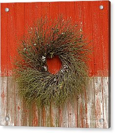 Acrylic Print featuring the photograph Wreath On The Barn by Nicola Fiscarelli