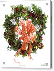 Acrylic Print featuring the digital art Wreath With Bow by Lise Winne