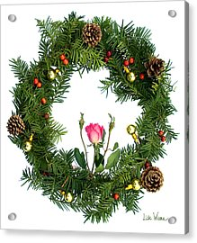 Acrylic Print featuring the digital art Wreath With Rose by Lise Winne