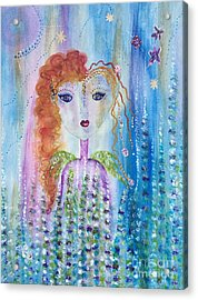 Acrylic Print featuring the painting Wren by Julie Engelhardt