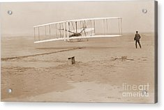 Wright Brothers First Powered Flight Acrylic Print by Padre Art