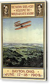 Wright Brothers - World's Greatest Aviators - Dayton, Ohio - Retro Travel Poster - Vintage Poster Acrylic Print