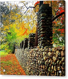 Wright Park Stone Wall In Fall Acrylic Print