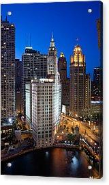 Wrigley Building Night Acrylic Print by Steve Gadomski