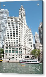 Wrigley Building Overlooking The Chicago River Acrylic Print