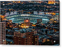 Wrigley Field From Park Place Towers Dsc4678 Acrylic Print by Raymond Kunst