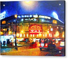 Wrigley Field Home Of Chicago Cubs Acrylic Print by Michael Durst