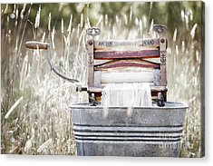 Wringer Washer - Retro Matte Acrylic Print by Angie Rea